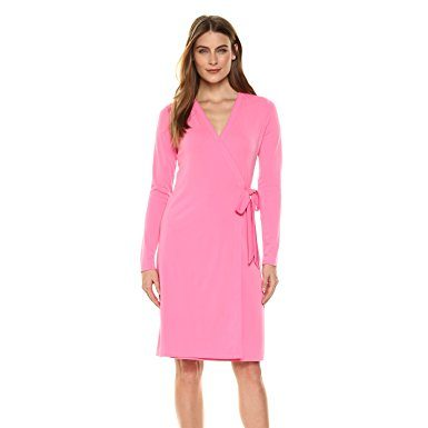 Lark & Ro Women's Long-Sleeve Wrap Dress, Vivid Poppy, Medium