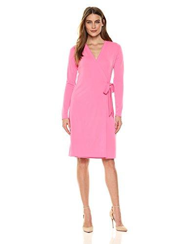 Lark & Ro Women's Long-Sleeve Wrap Dress, Vivid Poppy, Medium