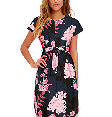 Women's Midi Dresses Side Slit Floral Print Loose Casual Long Dress with Belt BK318 (L, Black Floral)