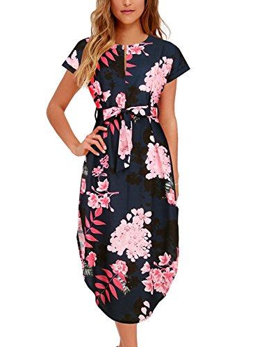 Women's Midi Dresses Side Slit Floral Print Loose Casual Long Dress with Belt BK318 (L, Black Floral)