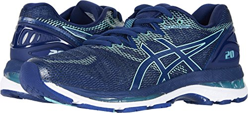 ASICS Women's Gel-Nimbus 20 Running Shoe, indigo blue/indigo blue/opal green, 8.5 Medium US
