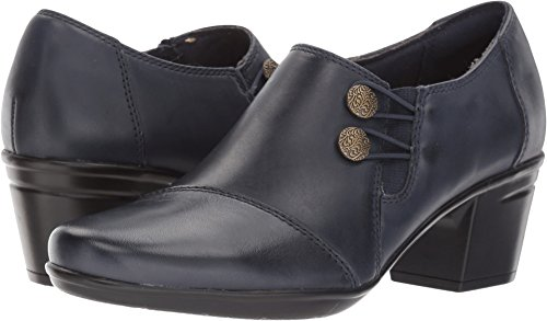 Clarks Women's Emslie Warren Slip-on Loafer,Navy Leather,5 M US