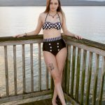 Model Breana for Swim Rags Retro Black Bikini