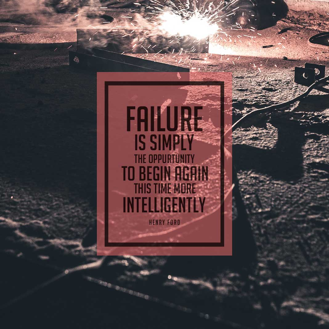 Motivational Quote Meme: Failure is Simply the Opportunity to Begin Again