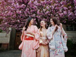 three european girls wearing traditional japanese kimono - California Pretty Magazine